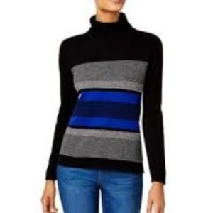 Black Striped Front Turtleneck Knit Sweater